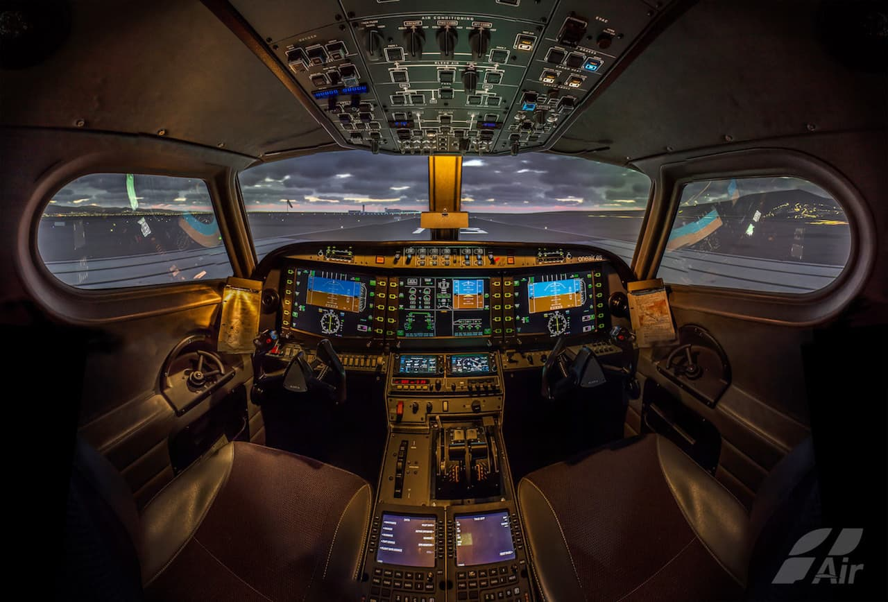 inside Alsim Alx flight simulator in One air Spain company