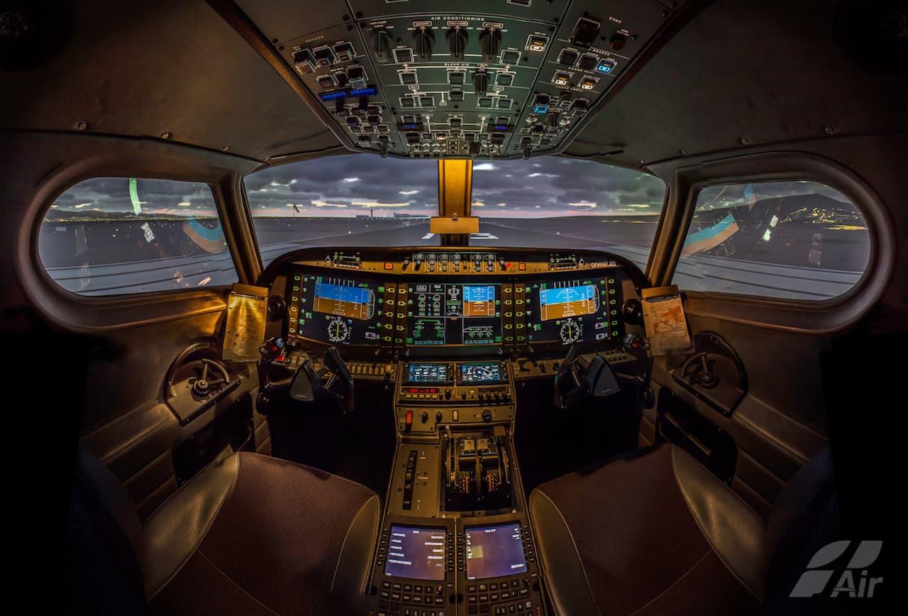 inside Alsim Alx flight simulator in One air Spain company