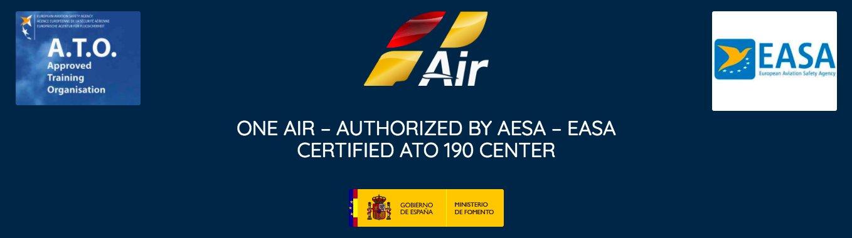 logo one air, easa, ato and spain goberment