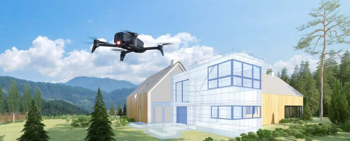 Drone parrot pro 3d taking in front of a house in the mountain