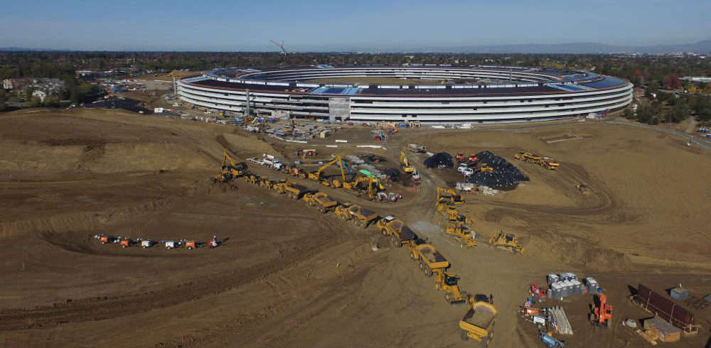 drone aerial photo from apple campus 2