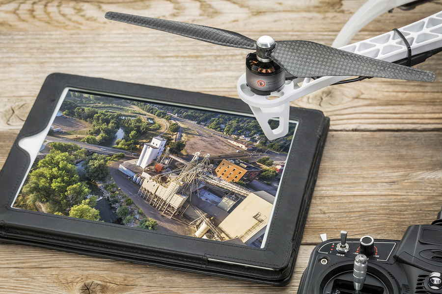 drone and areal view on tablet