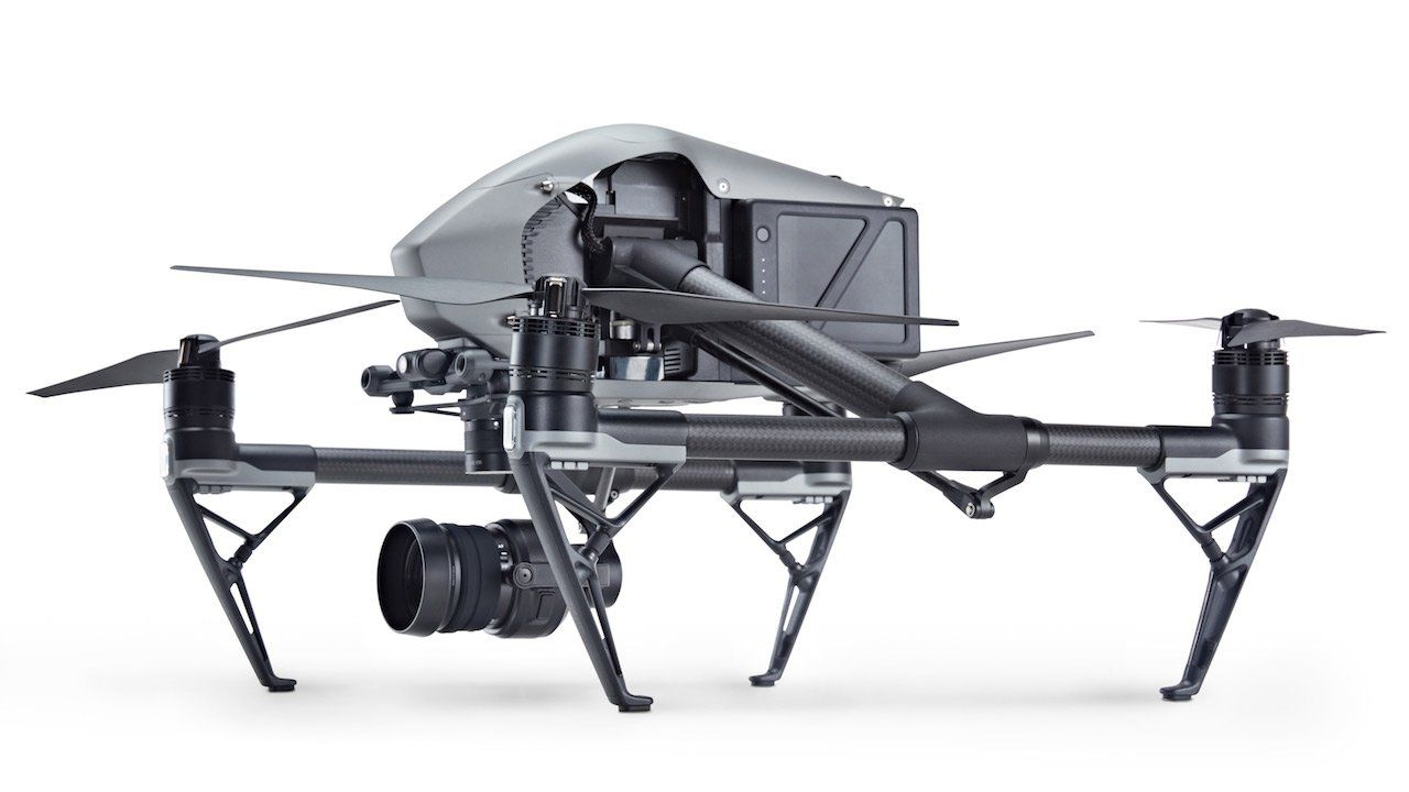 lateral view of the Dji Inspire 2 Drone with zenmus X5S camera
