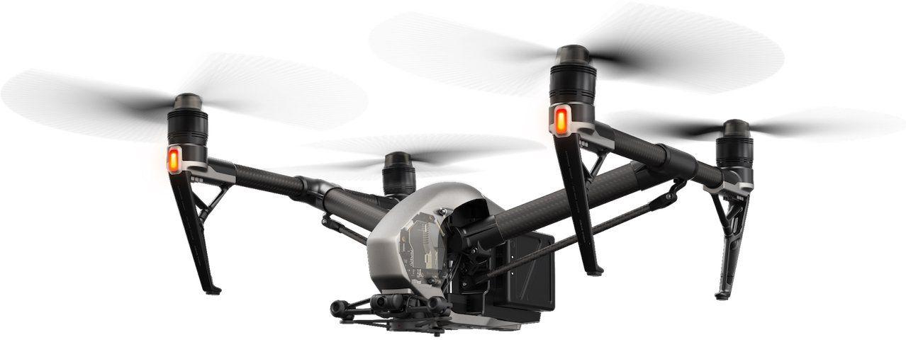 drone dji inspire 2 fly whith orange lights