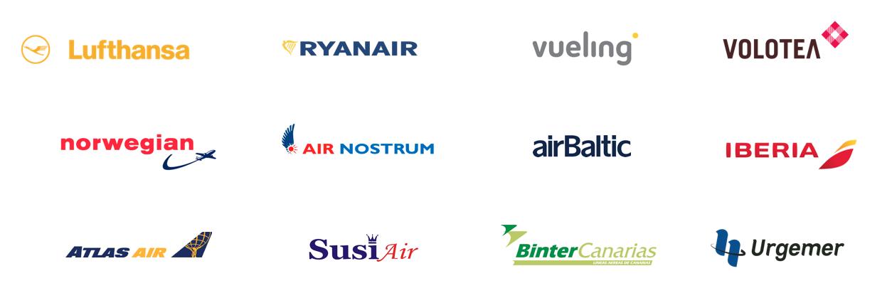 logos of airlines, lufthansa, ryanair, vueling, volotea, norwegian, air nostrum, airbaltic, iberia, atlasair, susiair, bintercanarias, urgemer