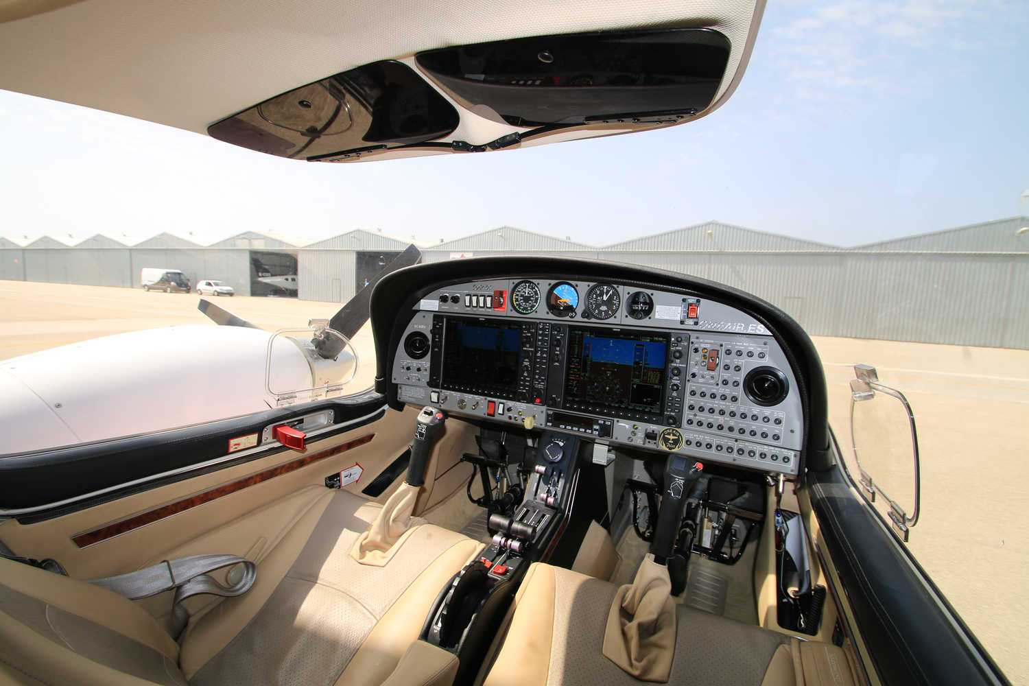 interior view of a diamond da42 aircraft owned by one air in the aerodrome de velez