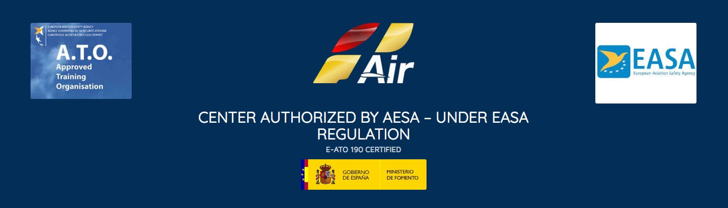 one air logo, center authorised by aesa, under easa regulations