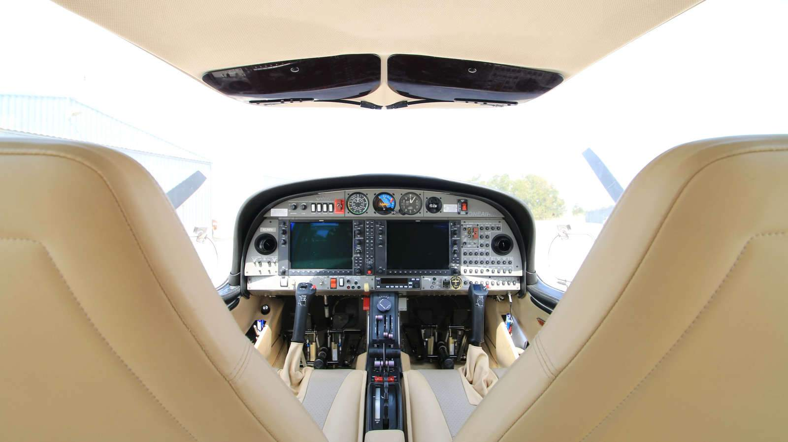 view of the inside of a diamond aircraft da42 of the one air school