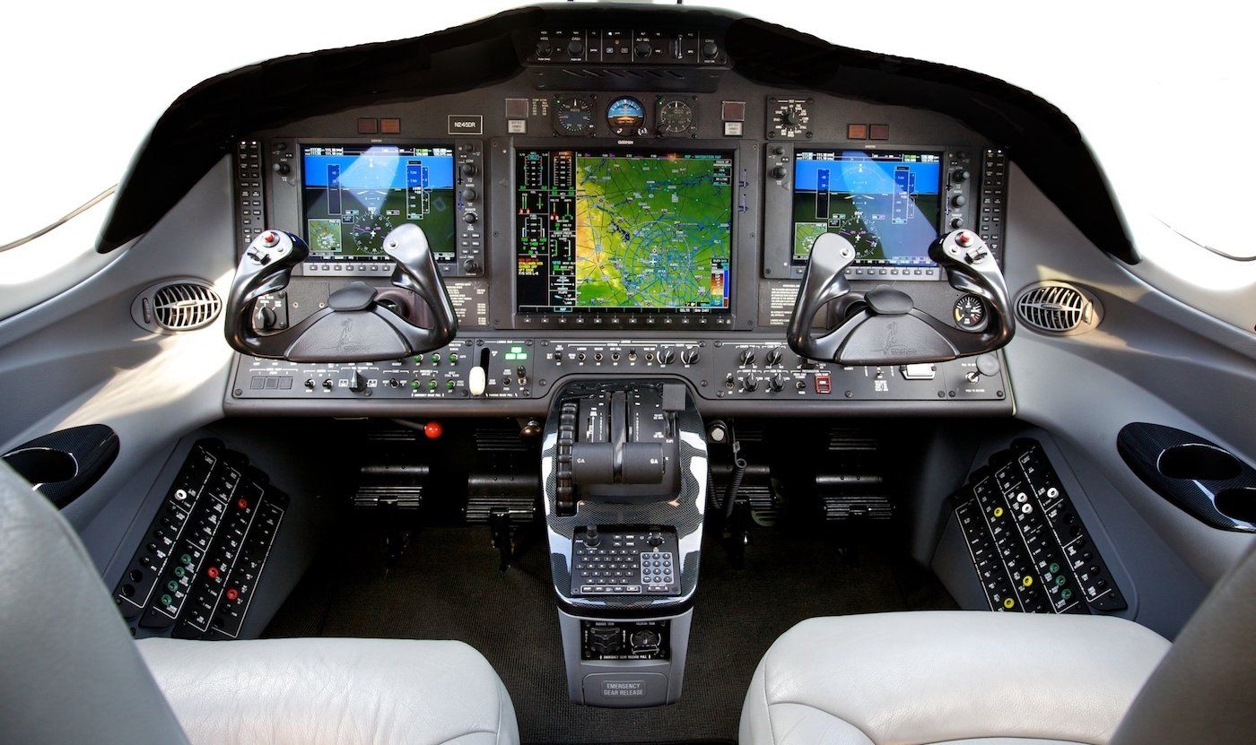 internal view of an airplane cockpit