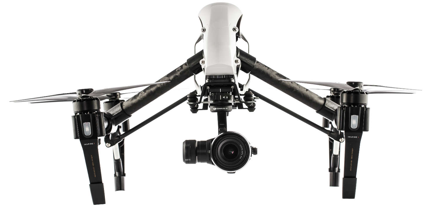 dji inspire white drone with white background