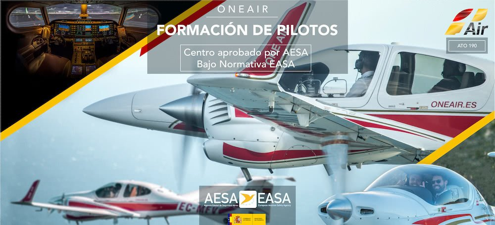 one air aviation banner with several diamond da42 and da20 airplanes in flight, an image of alsim alx sim and logos