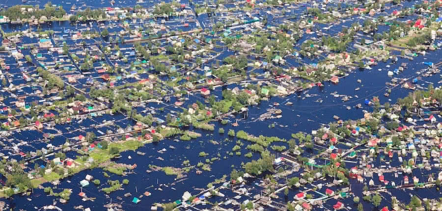 aerial view of hurricane effects and devastation
