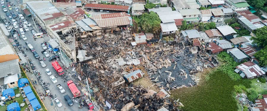 aerial view of the effects of a fire