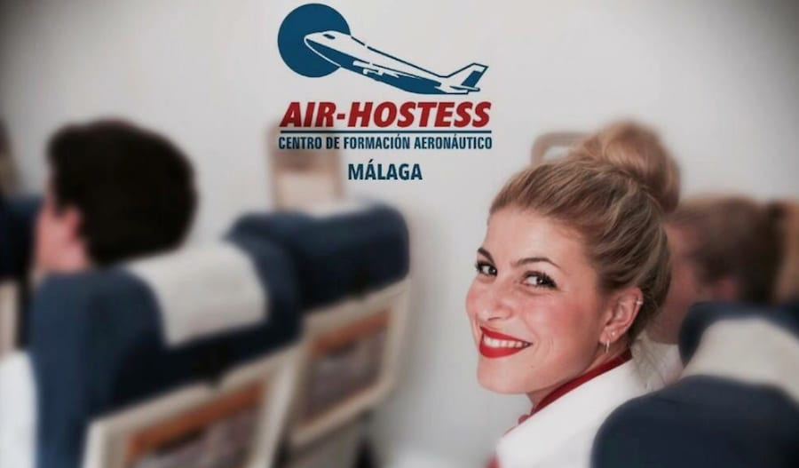 smiling air hostess malaga student with blond hair and red lips and other tcp students in the background