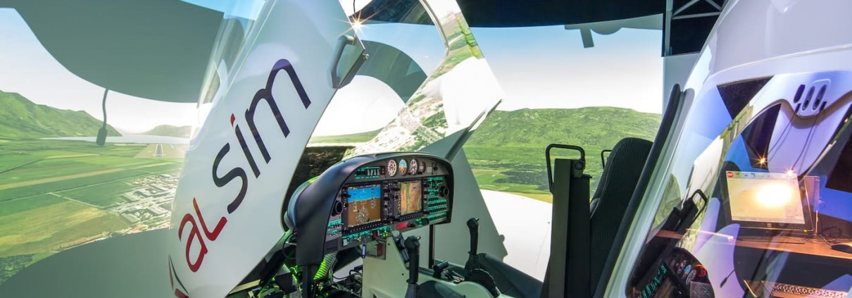alsim al42 simulator with opened glass cockpit available in one air flight school