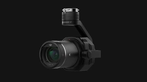 Detail of the zenmuse x7 camera for the industrial drone dji inspire 2