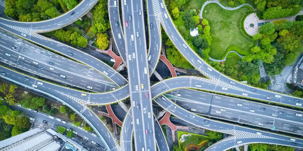 road junction being surveilling by industrial drones