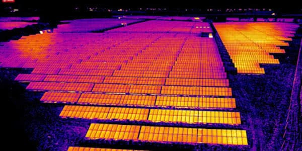 thermical image of field of solar panels for inspection with industrial drones