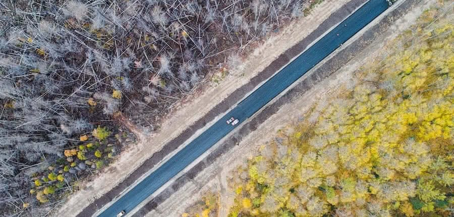 aerial view of a road separating a burned forest