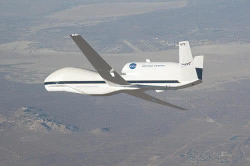 nasa global hawk industrial drone in a flight