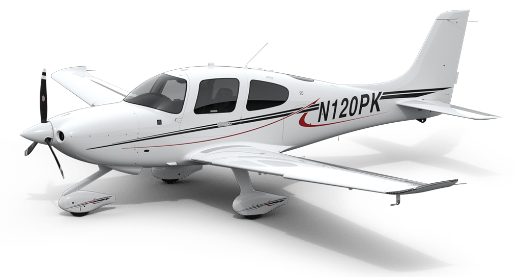 cirrus sr20 aircraft in white colour with black and red vinyls