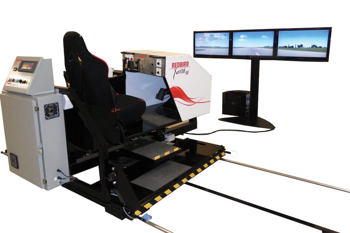 red bird full motion xwind simulator with three screens