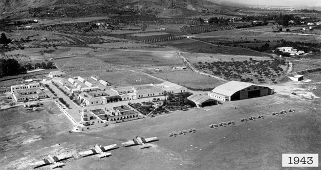 Aerial view of Malaga Airport in 1943.